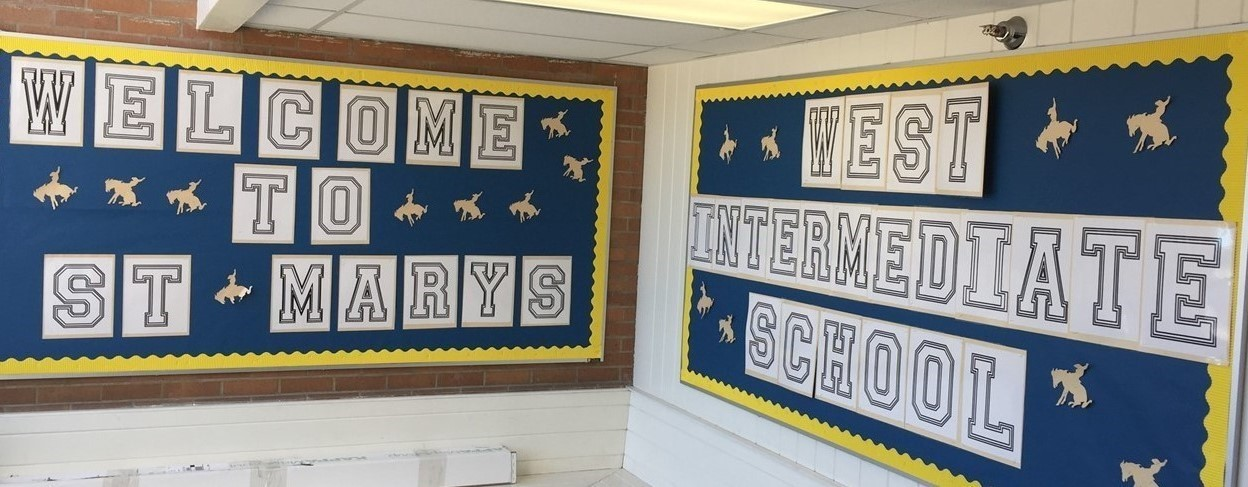 Picture of Bulletin Board which states Welcome to West Intermediate School