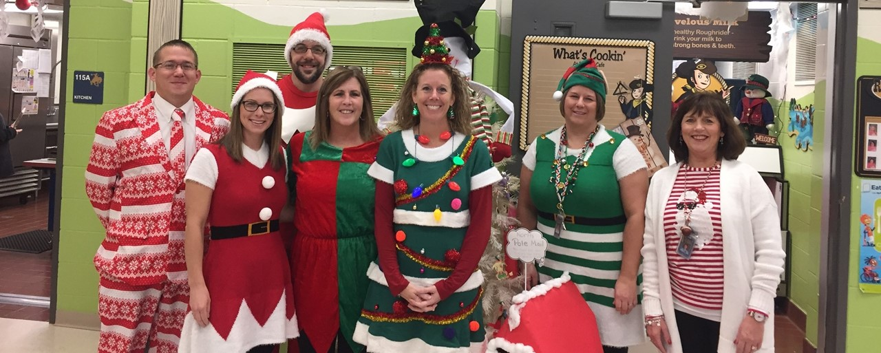 Picture of staff dressed up for Christmas in 2018