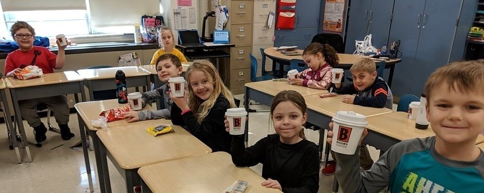 Students enjoying a treat from Biggby Coffee