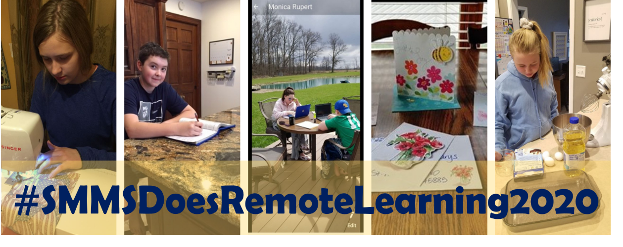 pictures of 5 students working on their remote learning assignments
