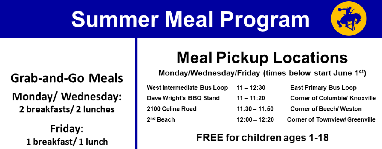 smcs summer meal program; grab-and-go meals; free for ages 1-18; various pickup locations around the district
